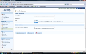 License managment screen in VMLogix LabManager